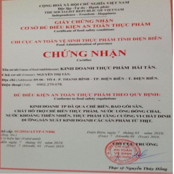 Chung nhan an toan ve sinh thuc pham Dienbienfood